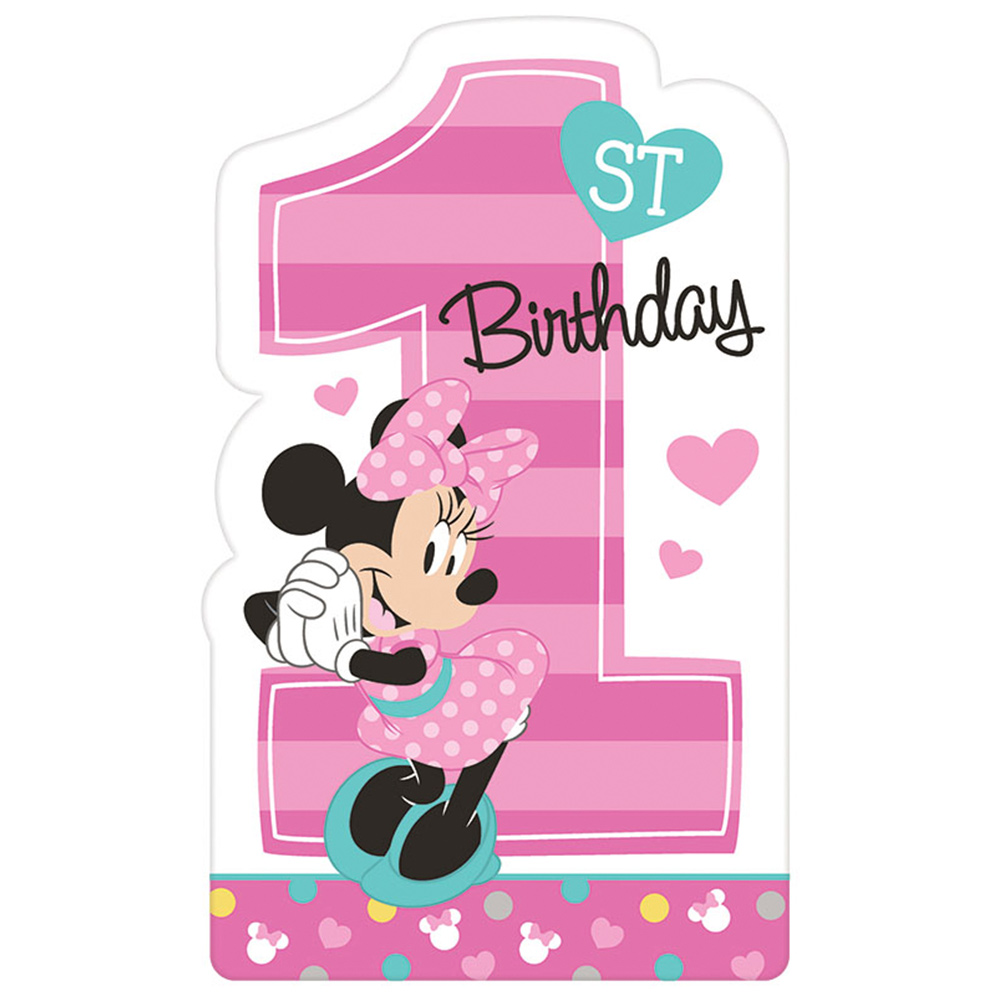 Minnie Mouse 1st Birthday Invite Postcards, 8 Count, Party Supplies