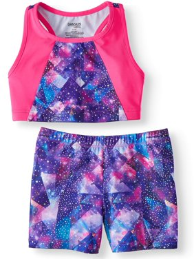 Danskin Now Girl's 2-pack Space Print Racer Back Sports Bra Top and Matching Active Shorts