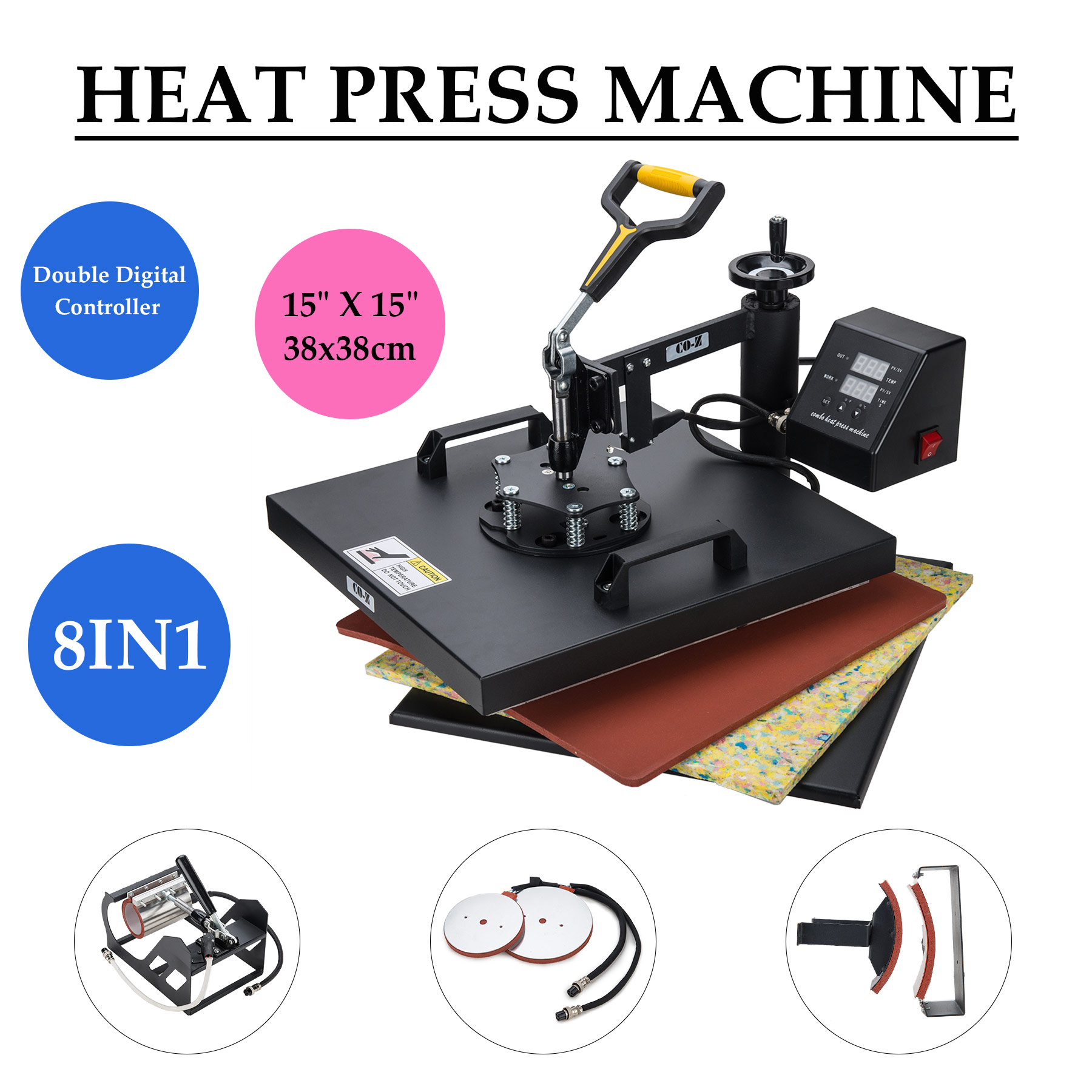 "8 in 1 15"" X 15"" Heat Press 360 Degree Swivel Heat Press Machine"