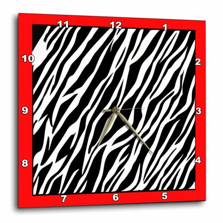 - 3dRose Zebra Fur Like Texture On Red, Wall Clock, 15 by 15-inch