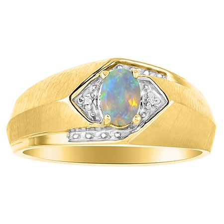 Mens Classic Oval African Opal & Diamond Ring Set in Yellow Gold Plated Silver .925 October Birthstone SL-MR2863OPBY-09-F2 ()