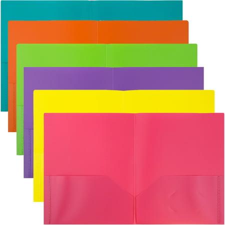 JAM Paper Plastic 2 Pocket School POP Folders, Assorted Fashion Colors, 6/pack - Plastic Folders