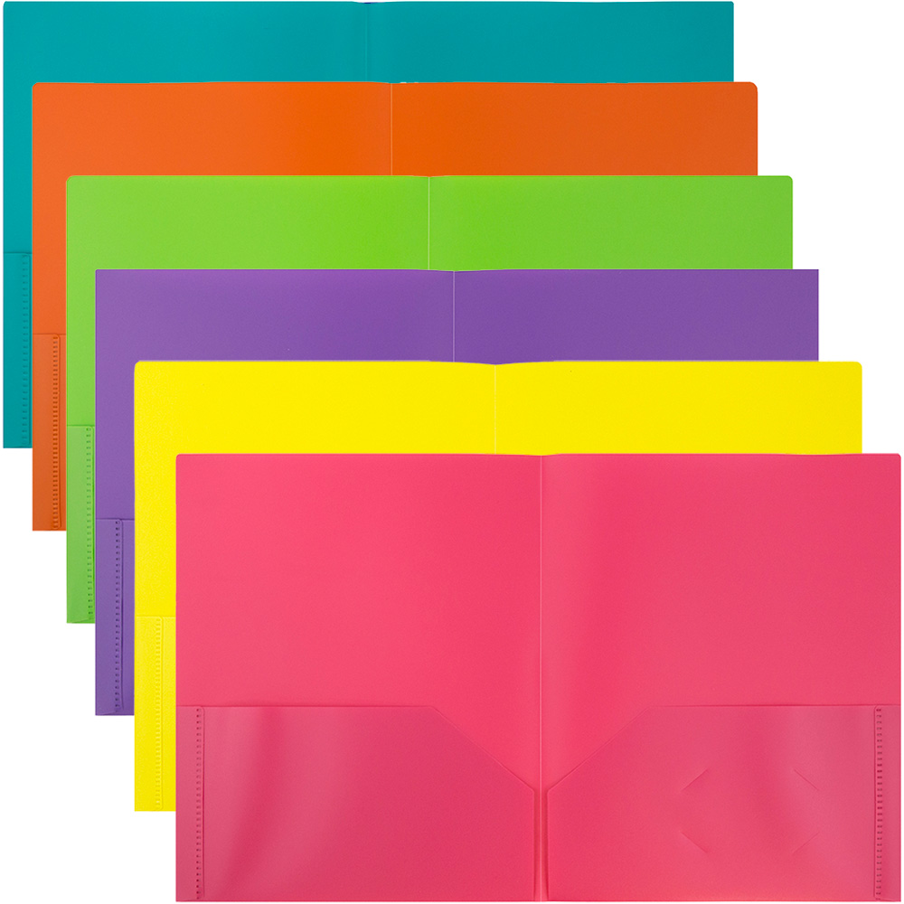 JAM Paper Plastic 2 Pocket School POP Folders, Assorted Fashion Colors, 6/pack
