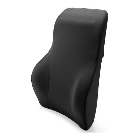 Tektrum Full Lumbar Entire Back Support Cushion for Home/Office Chair, Car Seat - Washable Cover, Ergonomic Thick 3D Design Fit Body Curve -For Back Pain Relief, Improve Posture - Black (QFC024-BLK)