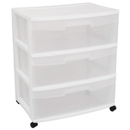 29308001 Wide 3 Drawer Cart, White Frame with Clear Drawers and Black Casters, 1-Pack, Outside Dimensions: 15.25 Depth x 21.88 WIdth x 24 Height By STERILITE (Sterilite 3 Drawer Cart Black)