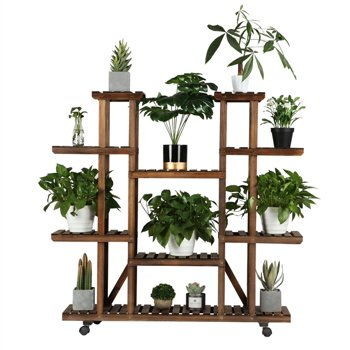 SmileMart 4-Tier 9-Shelf Rolling Wood Flower and Plant Display Stand
