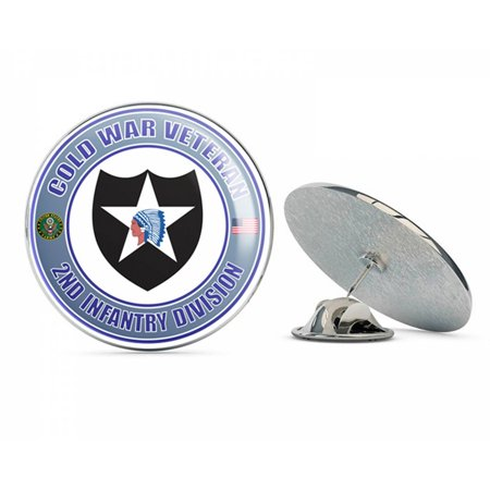 "U.S. Army Cold War 2nd Infantry Division Veteran Metal 0.75"" Lapel Hat Pin Tie Tack Pinback"