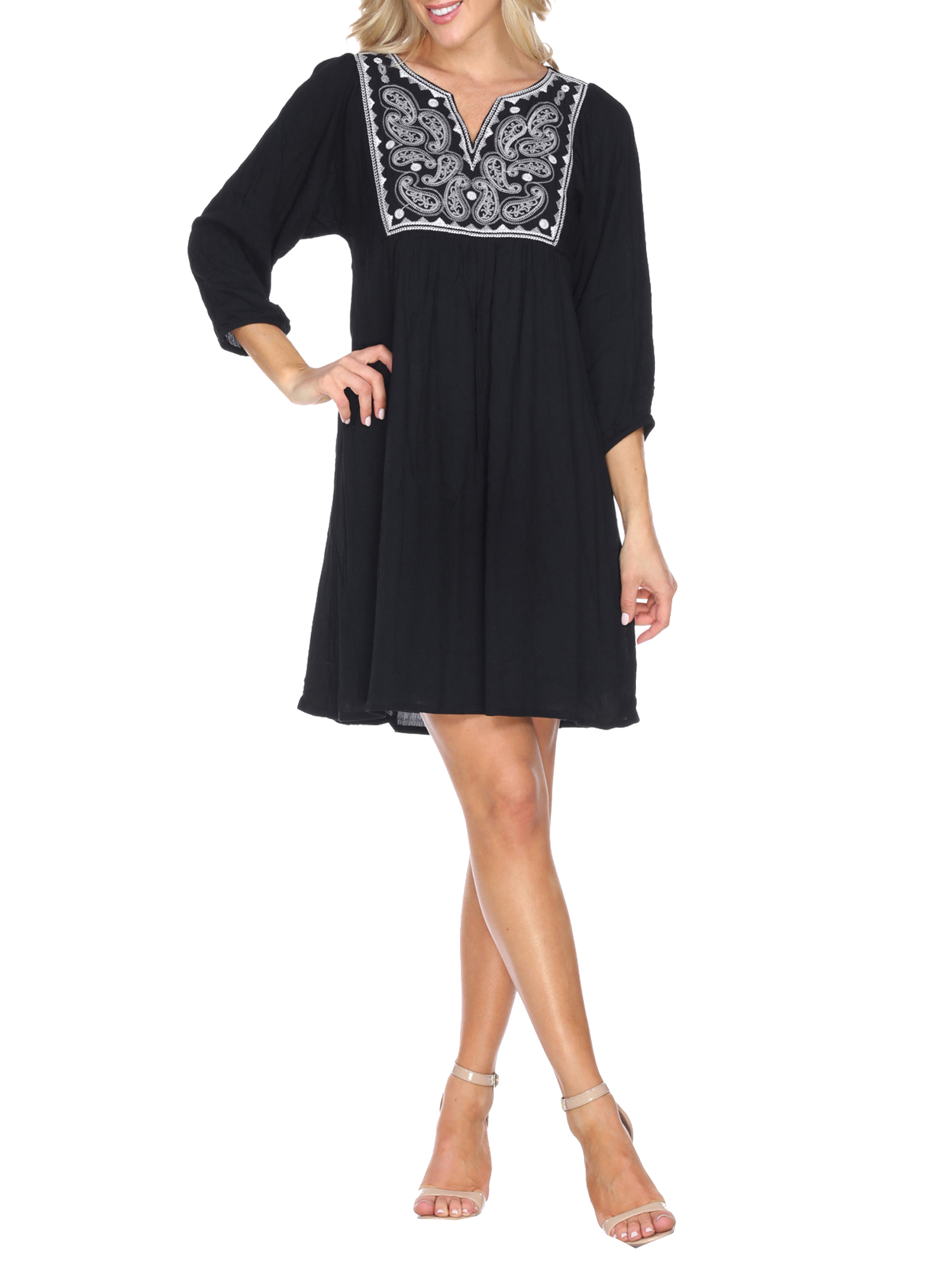Women's Embroidered Smock Dress