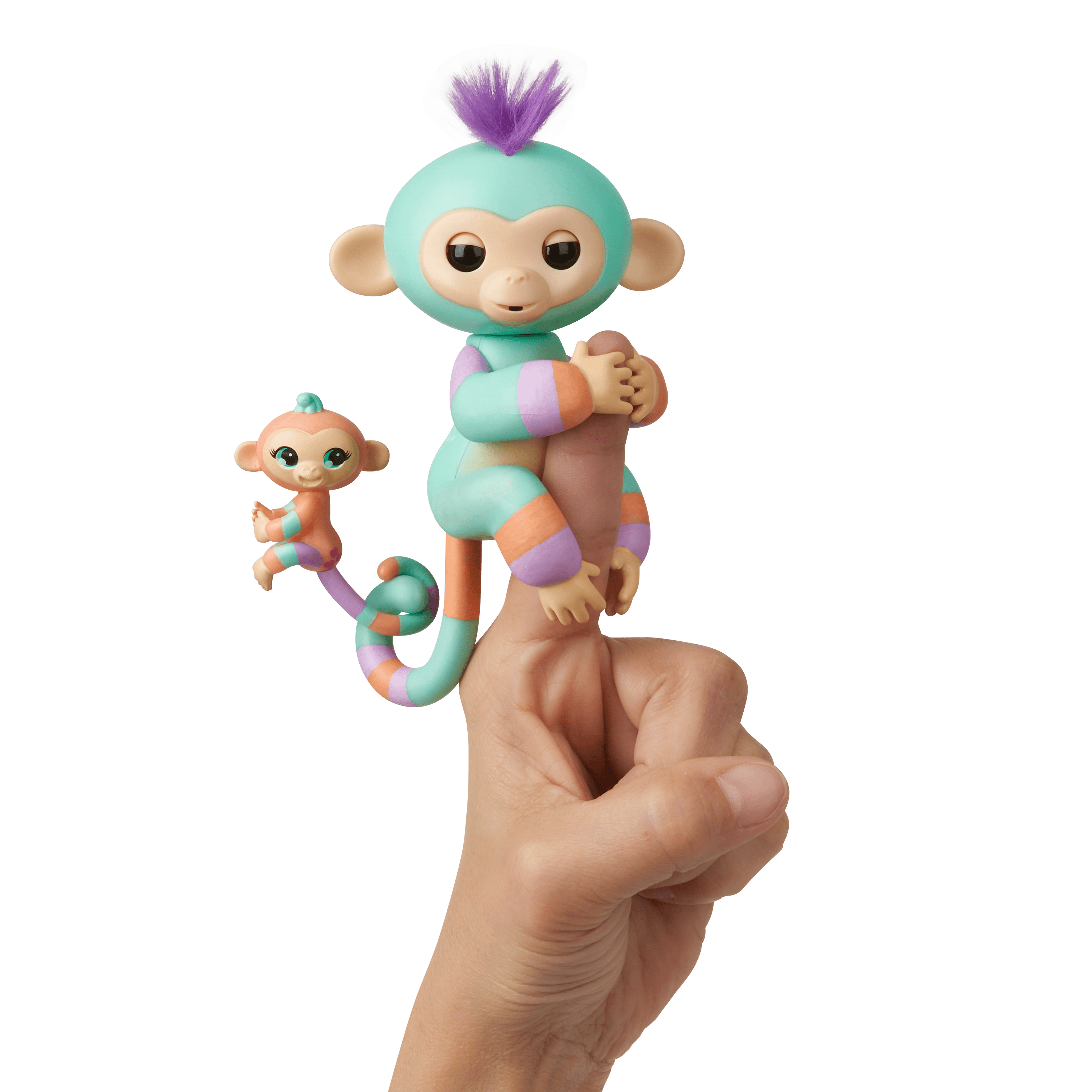 Fingerlings Baby Monkey & Mini BFFs - Danny & Gianna (Turquoise-Orange) - By WowWee