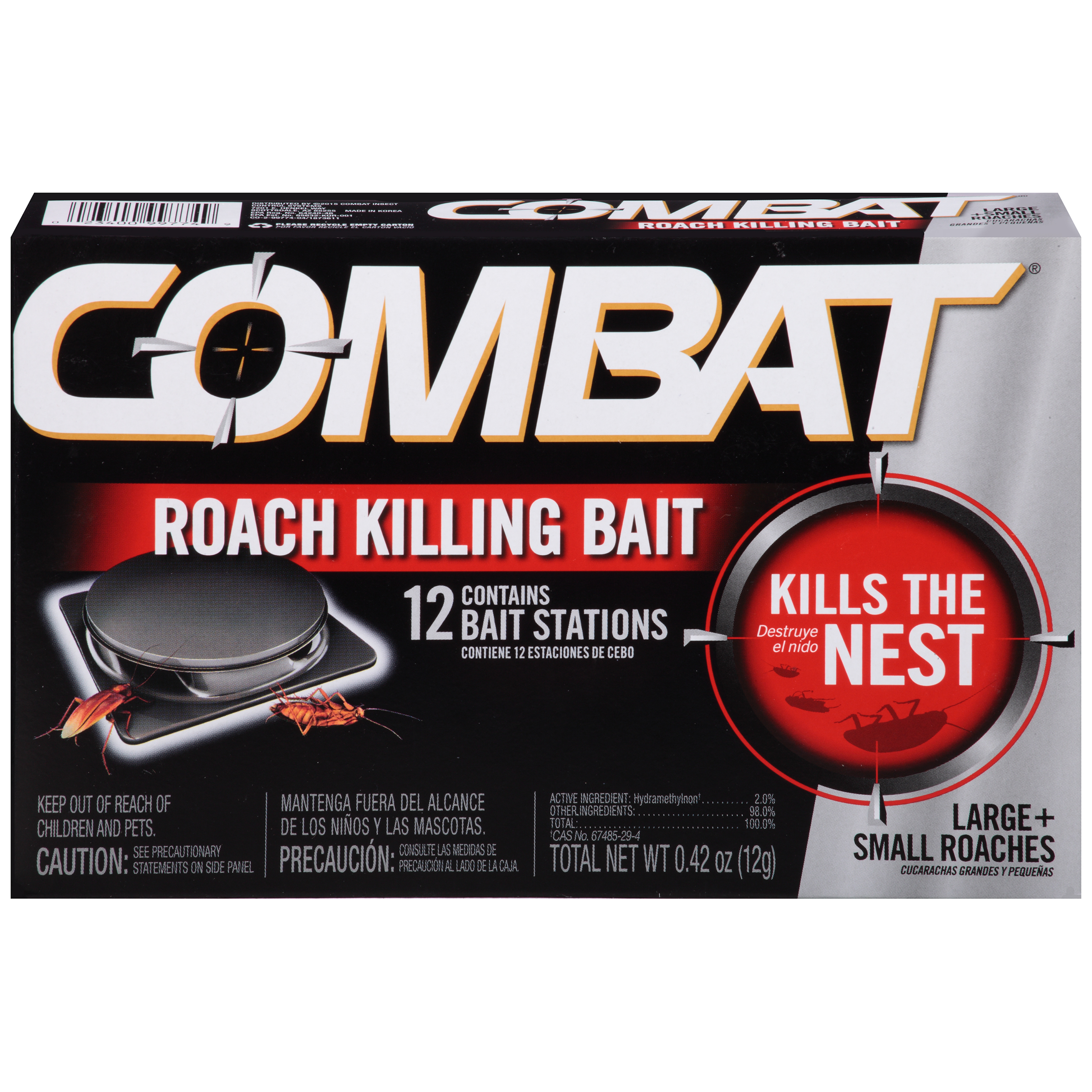 Combat Small & Large Roach Killing Bait Stations, 12 Count