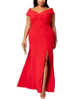 Xscape Womens Plus Sweetheart Neck Off The Shoulder Evening Dress