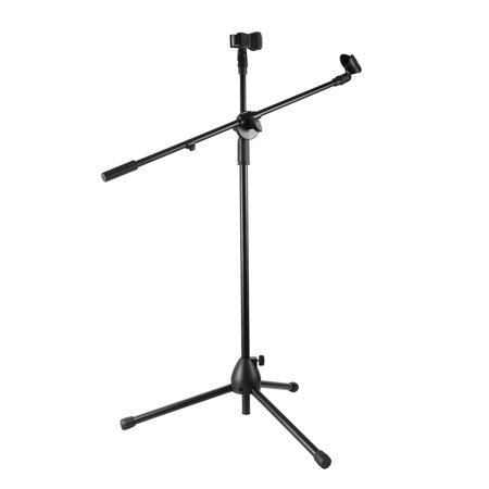 Microphone Stands Tripod Boom Mic Holders Adjustable Arm Height Detachable w/ Dual Mic Clip for Studio Stage Performances Live