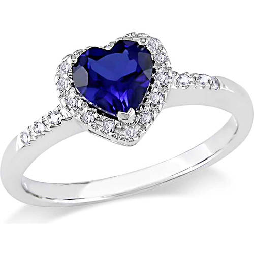 Tangelo 7/8 Carat T.G.W. Created Blue Sapphire and 1/10 Carat T.W. Diamond 10kt White Gold Heart Engagement Ring