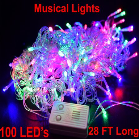 Musical Christmas Lights Twinkling Tree 100 LED Strip With Music Clear Wire Multicolor Singing Luces De Navidad ()