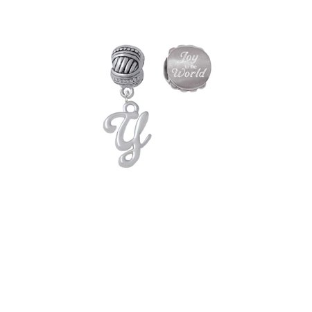 Silvertone Small Gelato Script Initial - Y - Joy to the World Charm Beads (Set of 2) ()
