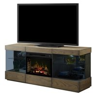 Bowery Hill Electric Fireplace TV Stand with Logset in Raked Sand