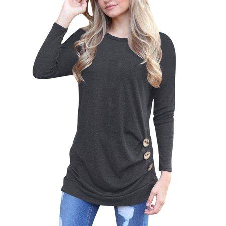 a9d7b2f58640 topcobe - Green   Gray Lightweight Blouses Tunic T-Shirts for Women ...