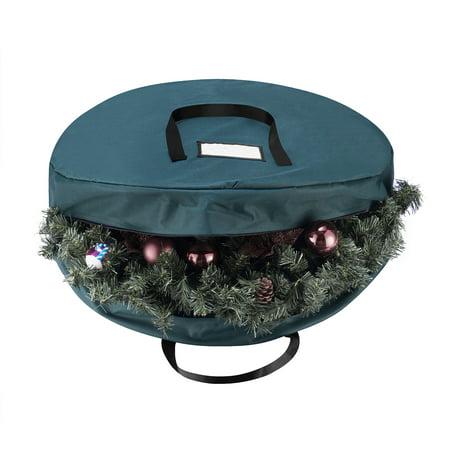 Christmas Totes (Tiny Tim Totes Green Canvas Holiday Christmas Wreath Storage Bag For 30