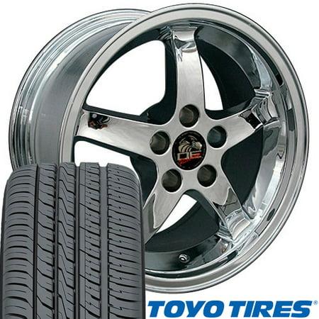 OE Wheels 17 Inch Fit Ford Mustang Cobra R Deep Dish Chrome 17x9 Rims Toyo Proxes 4 Plus Tires SET Cobra R Wheel