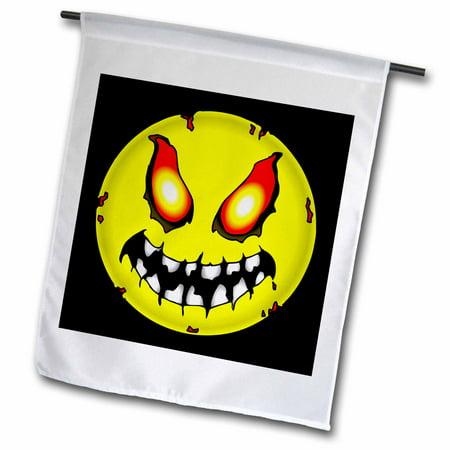 3dRose ZOMBIE SMILEY FACE halloween 1 on black - Garden Flag, 12 by - Smiley Halloween