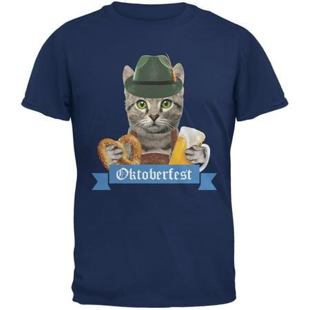Oktoberfest Funny Cat Metro Blue Adult T-Shirt