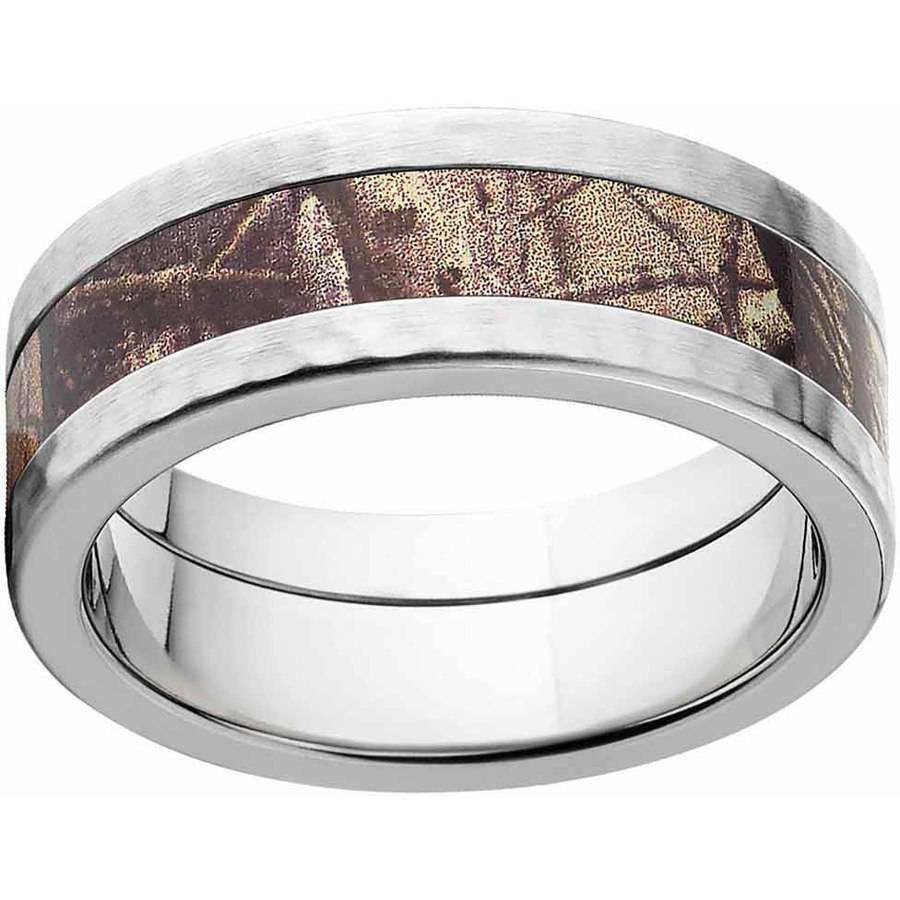 RealTree AP Men's Camo Stainless Steel Ring with Hammered Edges and Deluxe Comfort Fit