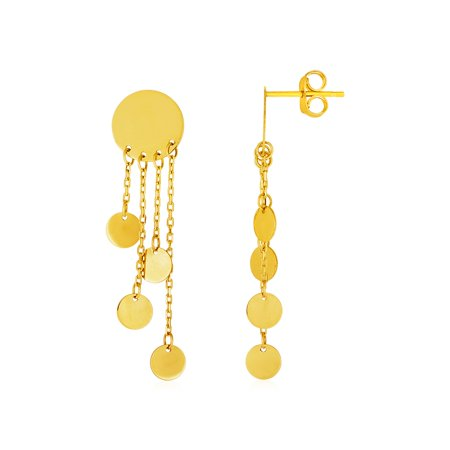 14k Yellow Gold Post Earrings with Polished Round Dangles - image 2 of 2