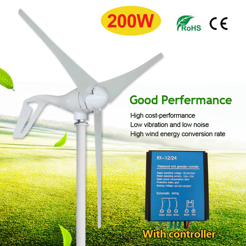 12V/24V 3 Nylon Fiber Blades 200W Wind Turbine Generator Permanent Magnet Wind Windmill Power Generator Green Energy Generating Electric Aerogenerator with Controller Home Garden