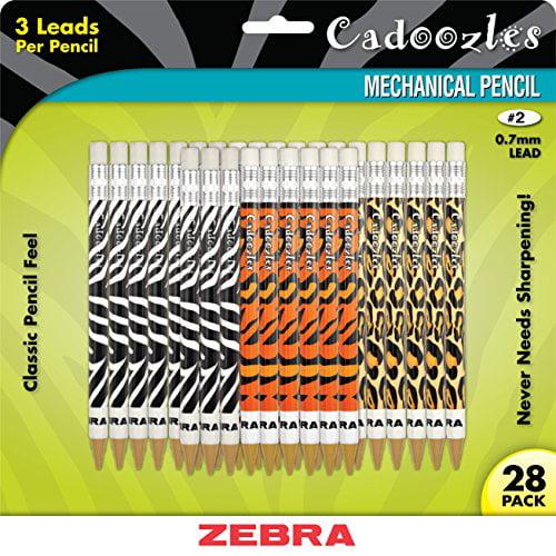 Zebra Pen Cadoozles Animal Print Mechanical Pencils - #2 Pencil Grade - 0.7 Mm Lead Size - Assorted Barrel - 28 / Pack (51628)