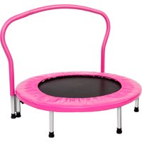 """36"""" Small Trampolines for Workout, Pink Portable Kids Mini Trampoline with Handrail, Durable and Safe Rebounder Trampoline for Kid Exercise & Play Indoor or Outdoor, Supports Up to 180 Pounds, L097"""