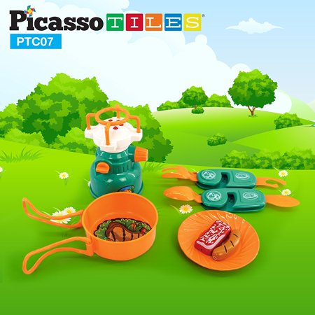 PicassoTiles PTC07 7 Piece Adventure Camping Tools & Gear Set For Kids - Gears For Kids