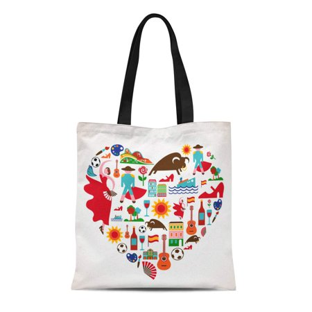 LADDKE Canvas Tote Bag Spanish Spain Love Barcelona Travel Flamenco Madrid Guitar Bullfight Reusable Shoulder Grocery Shopping Bags Handbag