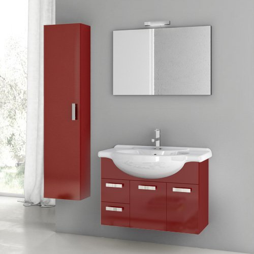 ACF by Nameeks ACF PH05-GR Phinex 32-in. Single Bathroom Vanity Set - Glossy Red