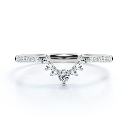 .65 ct Vintage Pearl & Moissanite Pave Dainty Stackable Wedding Ring Band in 10K White Gold