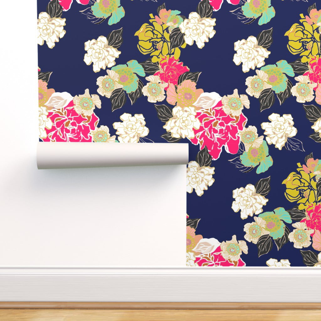 Peel And Stick Removable Wallpaper Floral Garden Blue Jungle