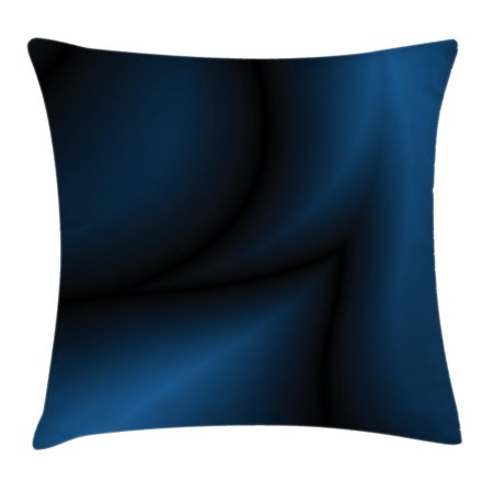 Navy Blue Decor Throw Pillow Cushion Cover, Deep Ocean Themed Dark Blue Colored Design with Reflections of Light Image, Decorative Square Accent Pillow Case, 16 X 16 Inches, Dark Blue, by Ambesonne