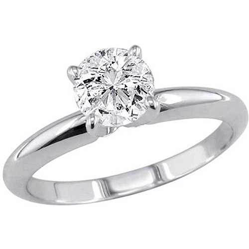 1 Carat T.W. Round Diamond Solitaire 10kt White Gold Ring by Unique Designs Inc.