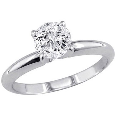 1 Carat T W Round Diamond Solitaire 10kt White Gold Ring