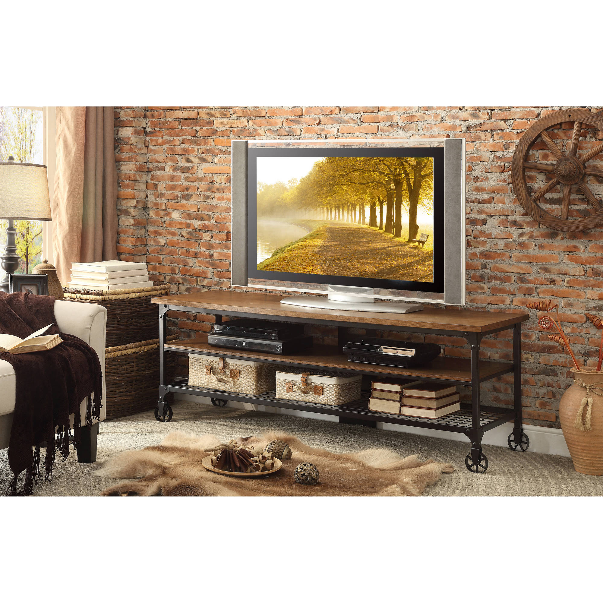 Chelsea Lane TV Stand with Handscraped Wooden Weathered Top, Brown