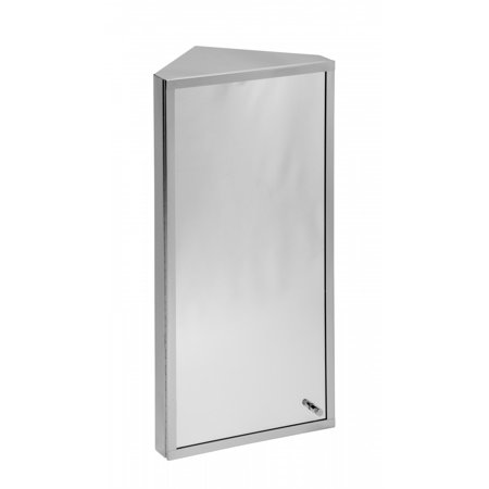 Polished Stainless Steel Corner Wall Mount Medicine Cabinet with Mirror