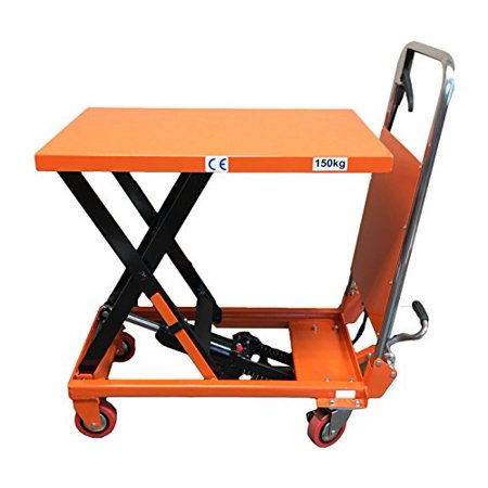 Scissor Lift Table - CasterHQ - MIGHTY LIFT LT330 HYDRAULIC SCISSOR LIFT TABLE - FOLDING - 330 LB CAPACITY LIFT TABLE - Compact and Convenient Scissor Lift Table - Prevent Back Strain and Increase Productivity