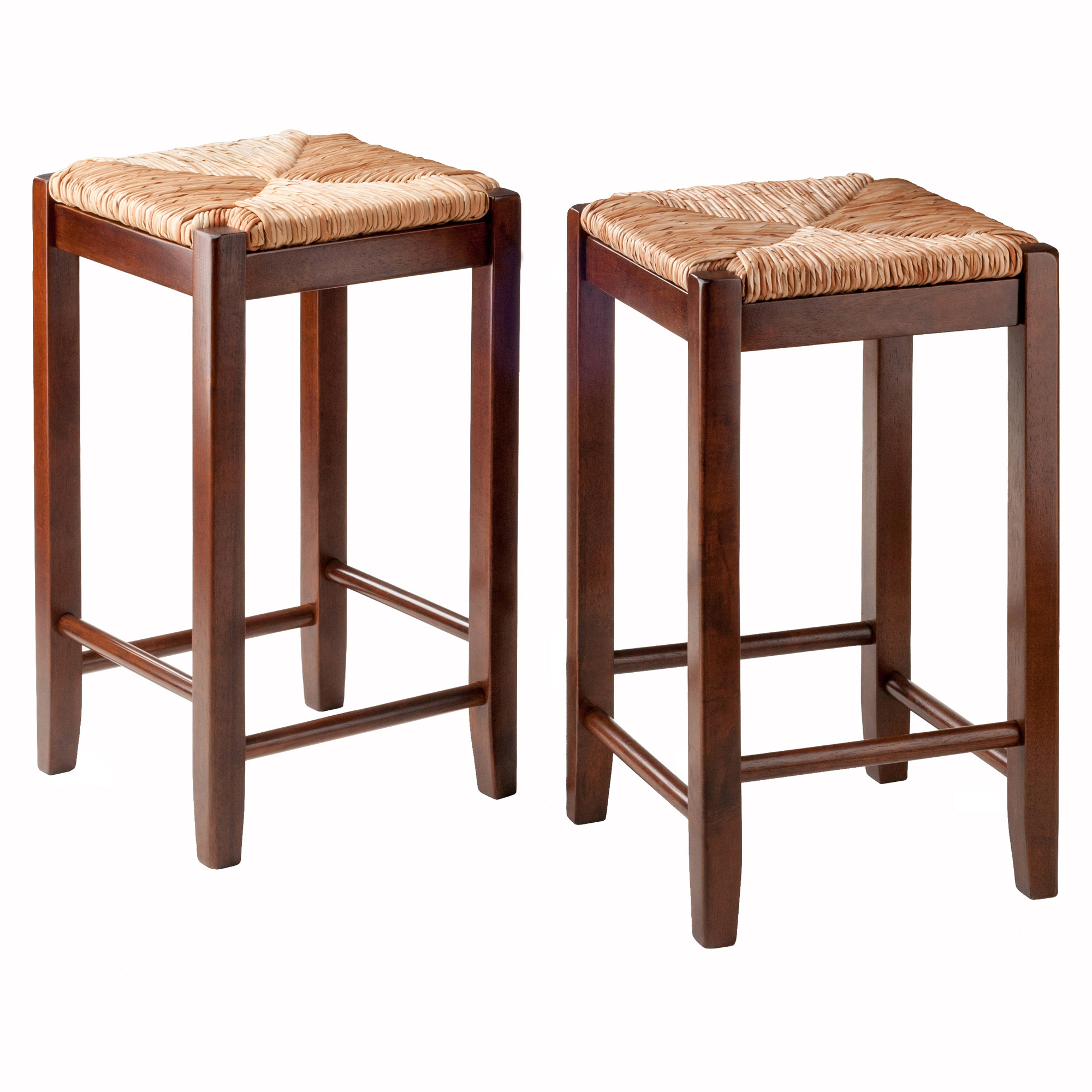 Rush Seat Counter Stools 24 Quot Set Of 2 Antique Walnut