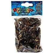 Official Rainbow Loom 600 Ct. Rubber Band Refill Pack PERSIAN BLACK [Includes 24 C-Clips!]