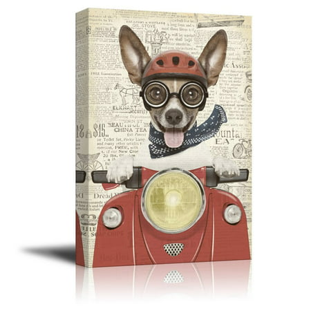 wall26 Creative Animal Figure on Vintage Paper Canvas Wall Art - A Dog Riding a Red Motorcycle - Giclee Print Gallery Wrap Modern Home Decor Ready to Hang - 24x36 inches Animal Art Vintage Animal