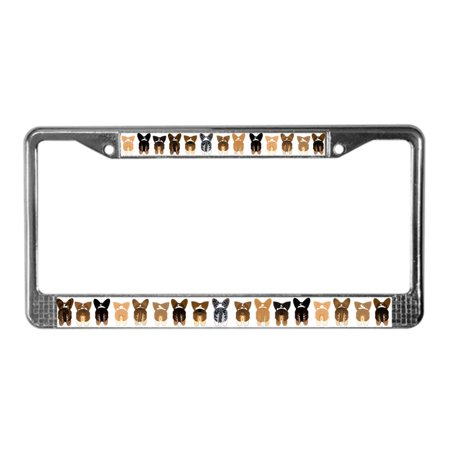CafePress - Both Corgi Butts - Chrome License Plate Frame, License Tag Holder