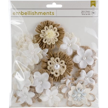 American Crafts Alpha & Bling Fabric and Paper Flowers Embellishments - Assorted Shapes and Sizes - 19 Pieces