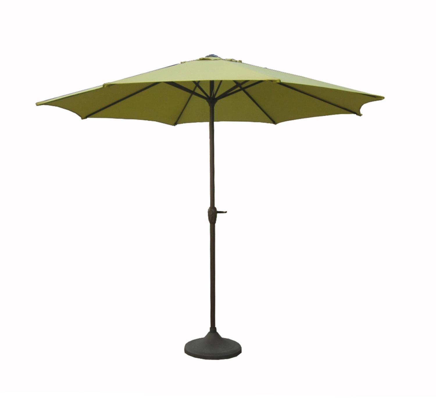 9' Outdoor Patio Market Umbrella with Hand Crank and Tilt - Sage/Brown and Black