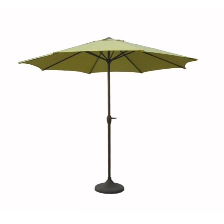 9 Outdoor Patio Market Umbrella With Hand Crank And Tilt   Sage Brown And Black