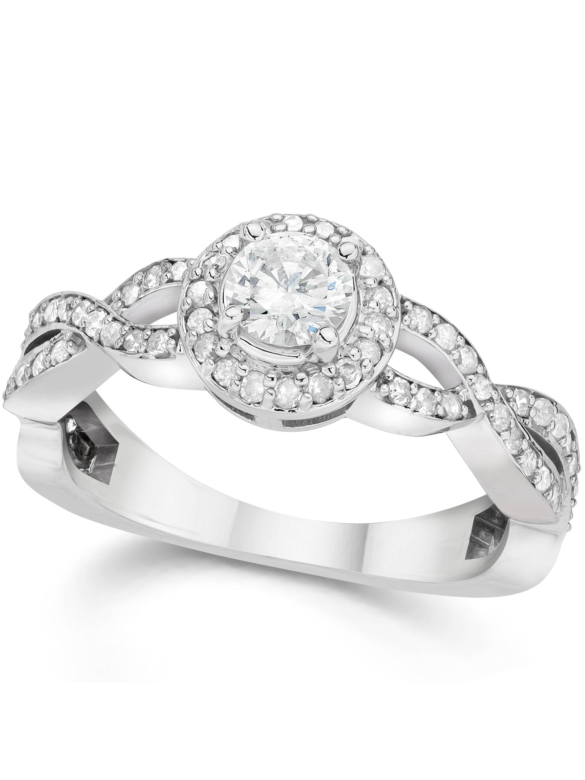 7 8ct Infinity Diamond Engagement Halo Ring 14K White Gold by Pompeii3