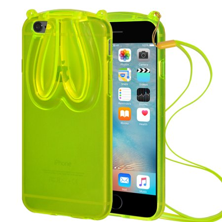 Designer Bunny Rabbit Ears TPU Case with Lanyard for Apple iPhone 6, iPhone 6s - (Rabbit Iphone Case)
